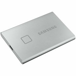 SAMSUNG T7 Touch 1TB External SSD, Read/Write: 1050/1000 MB/s, USB Type C-to-C and Type C-to-A cables, USB 3.2, silver