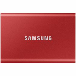Samsung SSD T7  External 2TB, USB 3.2, 1050/1000 MB/s, included USB Type C-to-C and Type C-to-A cables, 3 yrs, metallic red, EAN: 8806090312441