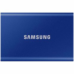 Samsung SSD T7  External 500GB, USB 3.2, 1050/1000 MB/s, included USB Type C-to-C and Type C-to-A cables, 3 yrs, indigo blue, EAN: 8806090312434