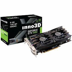 Inno3D Video Card GeForce GTX 1060 Twin X2 GDDR5 3GB/192bit, 1506MHz/8000MHz, PCI-E 3.0 x16, HDMI, 2xDVI-D, DP, HerculeZ 2X Cooler (Double Slot), Retail