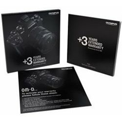 OLYMPUS 3-Years-Extended-Warranty Card in English, Czech, Polish, Romanian, Hungarian (only for E-M1 Body) also as English version for Croatia, Serbia, Slovenia, Slovakia, Romania and Bulgaria