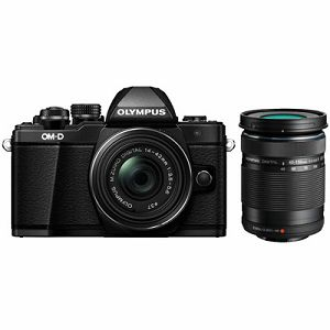 OLYMPUS E-M10II Pancake Double Zoom Kit blk/blk/blk / E-M10 Mark II black + EZ-M1442EZ 14-42mm black +  EZ-M4015 R 40-150mm black incl. Charger & Battery