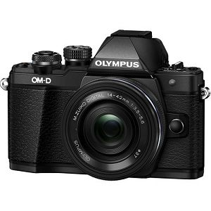OLYMPUS E-M10II Pancake Zoom Kit blk/blk / E-M10 Mark II black + EZ-M1442EZ 14-42mm black incl. Charger & Battery, V207052BE000