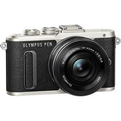 OLYMPUS E-PL8 Pancake Zoom Kit black/black (E-PL8 black + EZ-M1442EZ (14-42mm) black - incl. Charger & Battery), V205082BE000