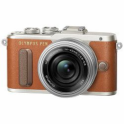 OLYMPUS E-PL8 Pancake Zoom Kit brown/silver (E-PL8 brown + EZ-M1442EZ (14-42mm) silver - incl. Charger & Battery), V205082NE000