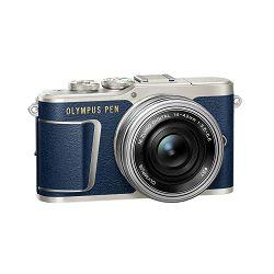 OLYMPUS E-PL9 Pancake Zoom Kit blu/slv (E-PL9 blue + EZ-M1442EZ silver - incl. Charger & Battery), V205092UE000
