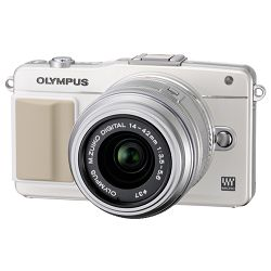 Olympus E-PM2 1442 - White Digital Camera with Silver 14-42mm Lens