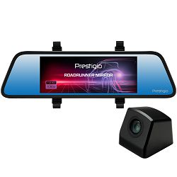 Car Video Recorder PRESTIGIO RoadRunner MIRROR (Front: FHD 1920x1080@30fps Rear: VGA640x480@30fps, 6.86 inch screen, MSC8328P, 4 MP CMOS GC2023 image sensor, 12 MP camera, 120° Viewing Angle, Micro US