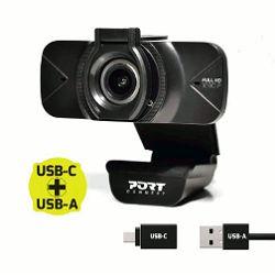 Port Full HD web kamera 1080p, crna s poklopcem