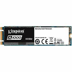 Kingston 240G SSDNOW A1000 M.2 2280 NVMe PCIE x2 lanes, 150TBW, EAN: 740617277333