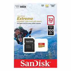 SanDisk Extreme microSDHC 32GB + SD Adapter for Action Sports Cameras - 100MB/s A1 C10 V30 UHS-I U3, SDSQXAF-032G-GN6AA