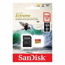 SanDisk Extreme microSDXC 128GB for Action Cams and Drones + SD Adapter 160MB/s A2 C10 V30 UHS-I U3, SDSQXA1-128G-GN6AA