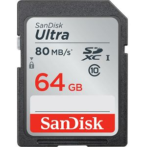 SanDisk Ultra SDXC 64GB 80MB/s Class 10 UHS-I, SDSDUNC-064G-GN6IN
