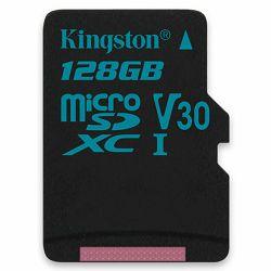 Kingston 128GB microSDXC Canvas Go 90/45 U3 UHS-I V30 Single Pack W/O Adptr EAN: 740617276350