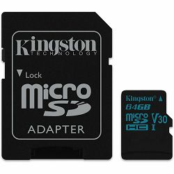 KINGSTON 64GB microSDXC Canvas Go 90R/45W U3 UHS-I V30 Card + SD Adapter