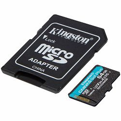 Kingston 64GB microSDXC Canvas Go Plus 170R A2 U3 V30 Card + ADP EAN: 740617301045
