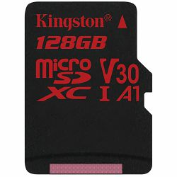 KINGSTON 128GB microSDXC Canvas React 100/80 U3 UHS-I V30 A1 Single Pack w/o Adp