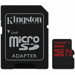 Kingston 32GB  microSDHC Canvas React  100R/70W U3 UHS-I V30 A1 Card + SD Adptr EAN: 740617276213