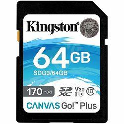 Kingston 64GB SDXC Canvas Go Plus 170R C10 UHS-I U3 V30 EAN: 740617301397
