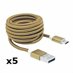 Kabel USB za android smartphone, zlatni, 1,5m, 5kom