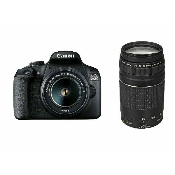 ef9dd79ba4b Canon EOS 2000D + 18-55 IS II + 75-300 KIT Black DSLR Digitalni fotoaparat  s dva objektiva EF-S 18-55mm f/3.5-5.6 i EF 75-300mm f/4-5.6 III