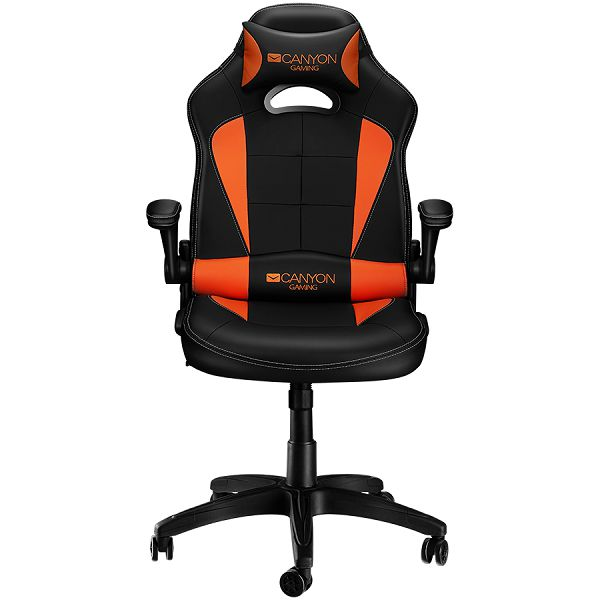 Canyon Gaming chair, PU leather, Original and Reprocess foam, Wood Frame, Butterfly mechanism, up and down armrest, Class 4 gas lift, Nylon 5 Stars Base,50mm PU caster, black+Orange.